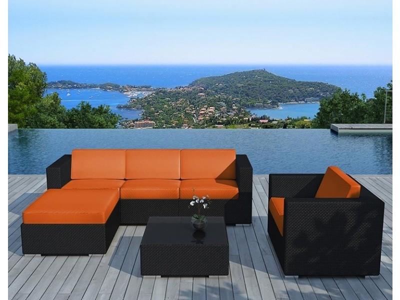 Salon de jardin 6 éléments en résine noire coussins orange - Vente ...