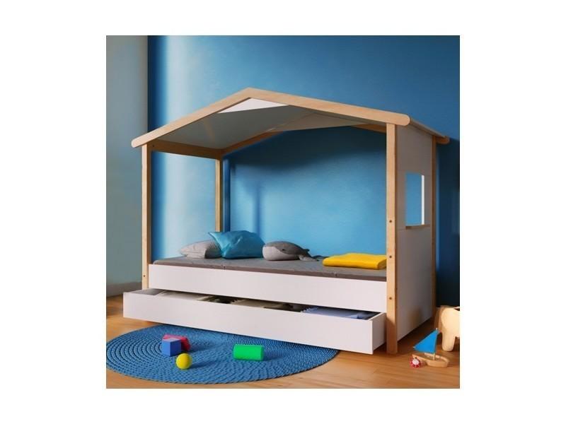 lit cabane castel 90x190 avec 1 tiroir blanc et vernis 131392 vente de lit enfant conforama. Black Bedroom Furniture Sets. Home Design Ideas