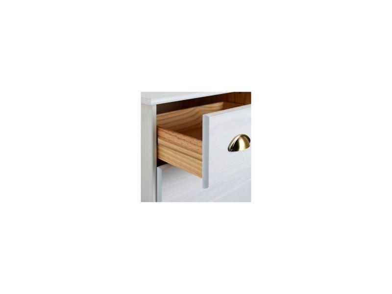 Commode colmar chiffonnier apothicaire rangement avec 4 tiroirs en pin massif lasur blanc - Commode apothicaire conforama ...