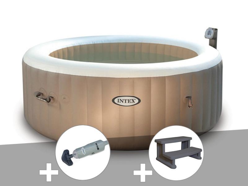 Kit Spa Gonflable Intex Purespa Rond Bulles 4 Places Aspirateur
