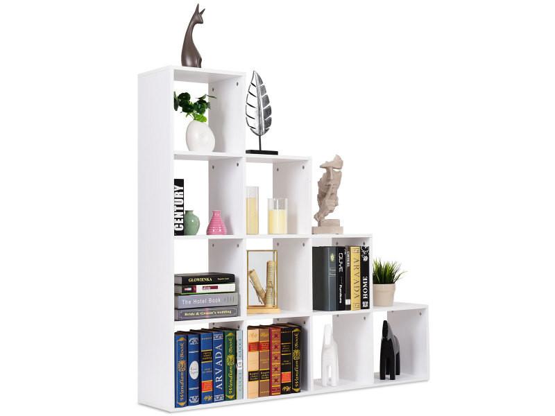 Giantex Bibliotheque Blanc Etagere Escalier Meuble Escalier 10 Compartiments Pour Rangement Stockage En Bois 131 5 131 5 27 5cm Vente De Bibliotheque Conforama