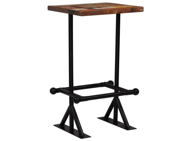 Contemporain tables serie djouba table de bar bois récupération massif multicolore 60x60x107 cm