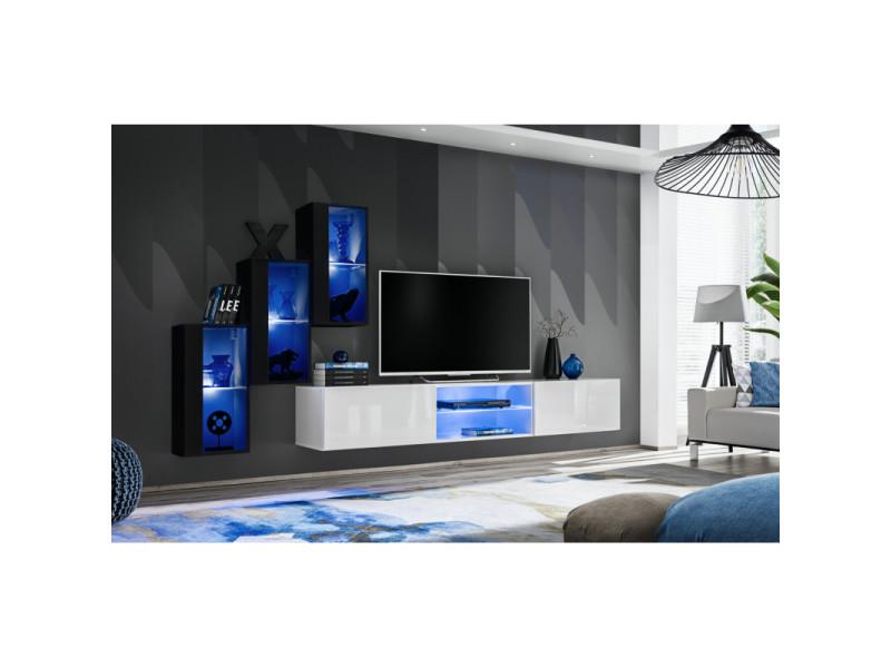 Ensemble meuble tv mural switch xxii - l 240 x p 40 x h 170 cm - noir et blanc