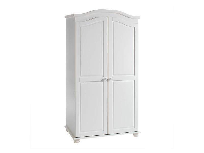 armoire en pin 2 portes davos lasur blanc vente de. Black Bedroom Furniture Sets. Home Design Ideas