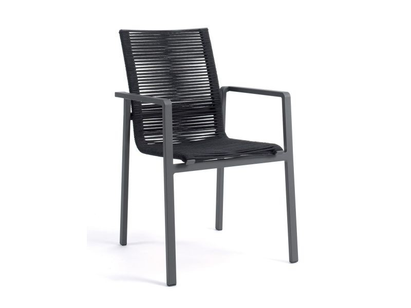 Chaise en aluminium anthracite et corde textilène noir zebra