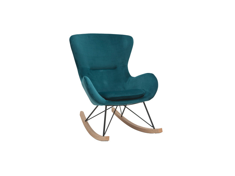 Rocking chair design velours bleu pétrole eskua