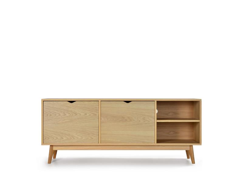 Ström - meuble tv design 2 portes chêne - couleur - chêne
