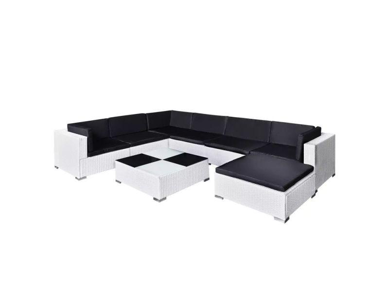Icaverne - ensembles de meubles d'extérieur famille jeu de mobilier de jardin 24 pcs blanc résine tressée