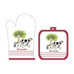Gant + manique vache rouge 18 x 28 les ateliers du linge