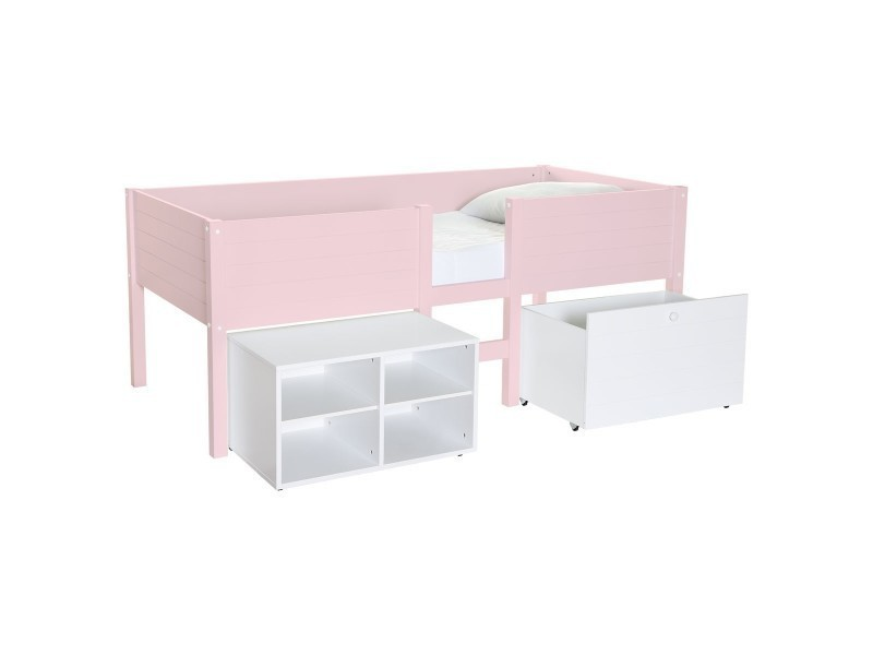 lit sur lev enfant avec rangement rose poudr lit. Black Bedroom Furniture Sets. Home Design Ideas