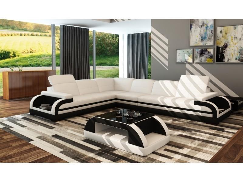 Canapé d'angle en cuir blanc et noir design bali (angle gauche)-