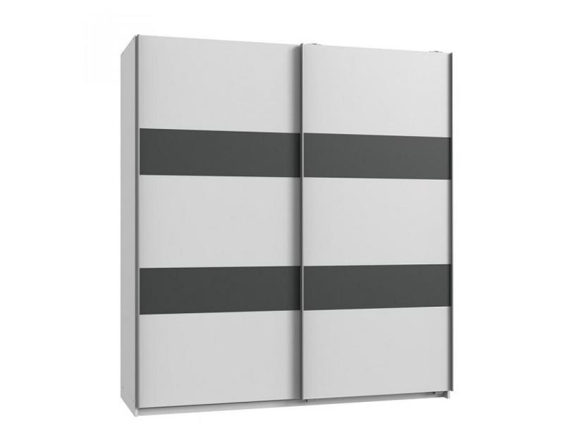 Armoire de rangement aude portes coulissantes 135 cm blanc rechampis graphite 20100890989