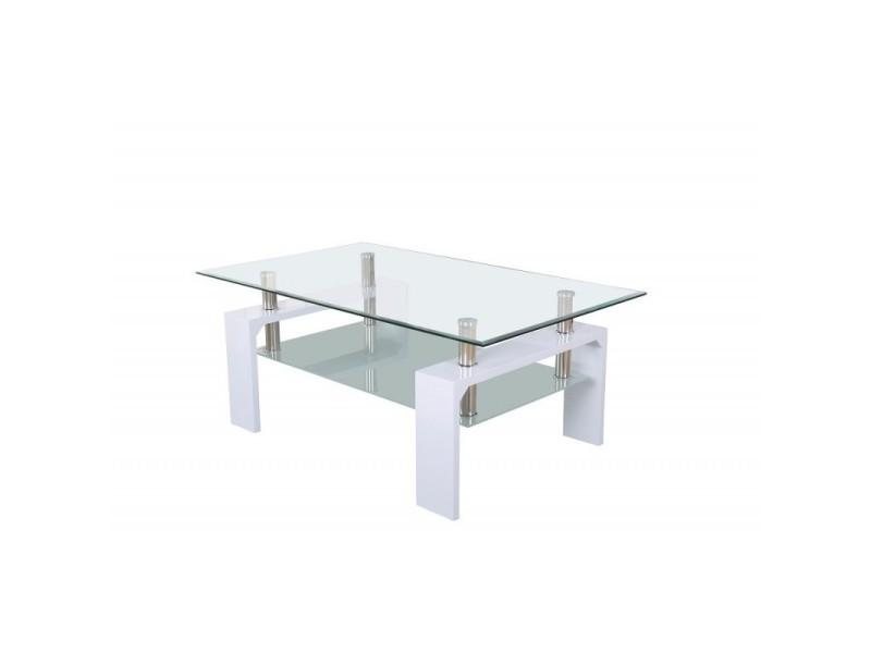 Table basse milaan rectangulaire design plateau en verre et sous-plateau en verre sablé, pieds coloris blanc.