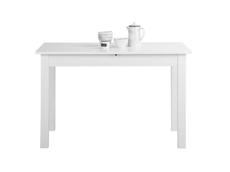 Coburg table a manger extensible de 4 a 8 personnes classique blanc - l 120-160 x l 70 cm