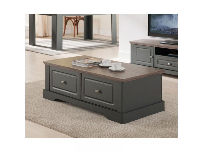Table basse 2 tiroirs taupe/chêne - dune - l 114.5 x l 59 x h 40 cm