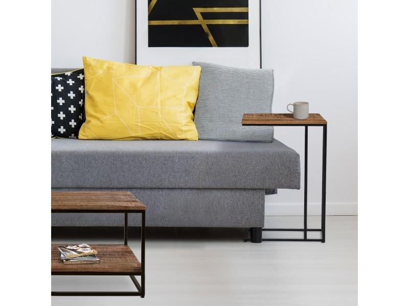 Table d'appoint womo-design naturel/noir, 40x25x60 cm, en bois de manguier massif avec cadre en métal thermolaqué 390003217