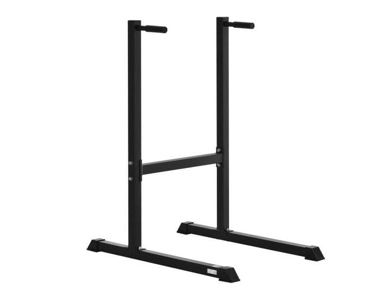 Appareil abdominaux dips barres à dips fitness poignées ergonomiques et pieds antidérapants acier noir
