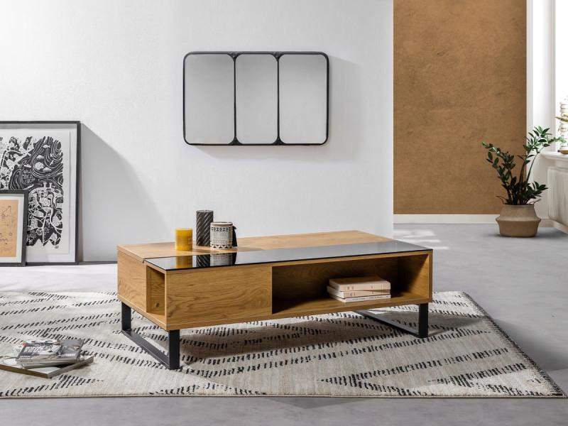 Bobochic table basse avec plateau relevable azea imitation chêne et noir
