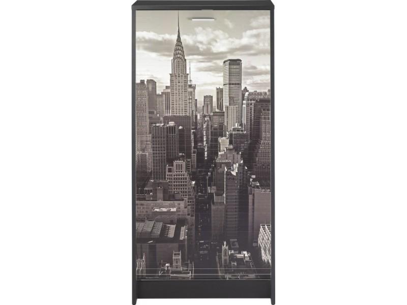 Meuble à chaussures noir 7 tablettes - coloris: new york 500