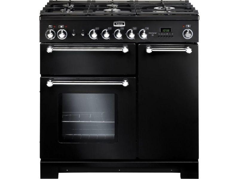 Cuisiniere 90x60cm falcon kch90dfblce 5gaz noir chrome
