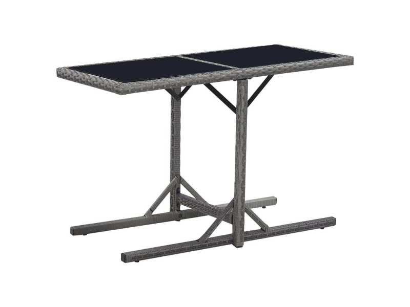 Esthetique mobilier de jardin gamme zagreb table de jardin noir 110x53x72 cm verre et résine tressée