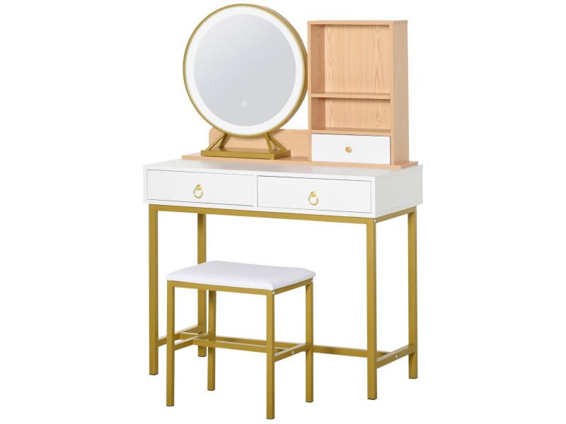 Coiffeuse design art déco - miroir led intégré - 3 tiroirs, 2 niches - tabouret inclus - métal doré panneaux particules blanc bois clair