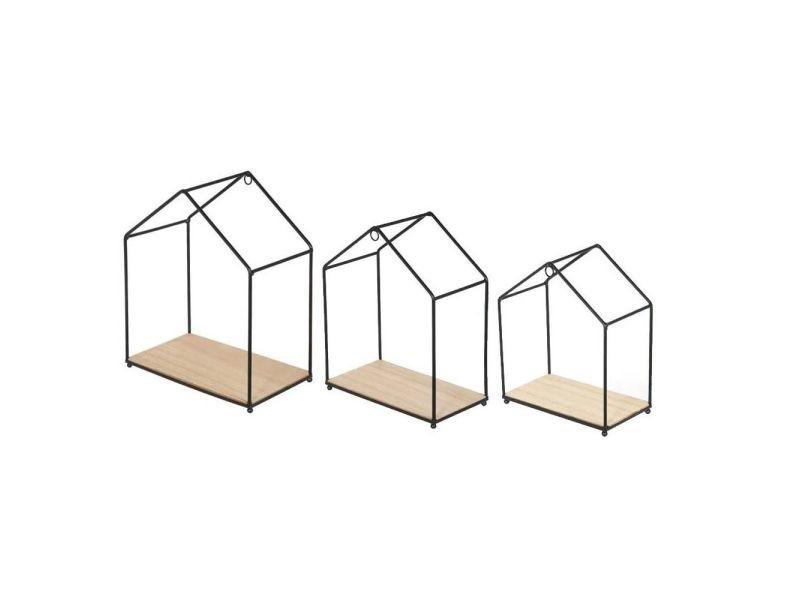 The home deco factory lot de 3 étageres filaires en forme de maison - bois et métal - 23x27x13 / 20x24x11 / 17,5x20,5x9,5 cm CMP3561864345722
