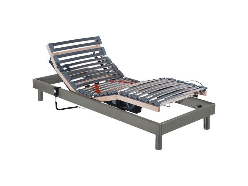 Sommier Relaxation Electrique A Lattes 1 Personne Conforteo Bois Massif Taupe 90x190cm S Conf5pmas Lon 1 190 Lag 1 90 Tei 1 Tau Vente De Ma Literie Conforama