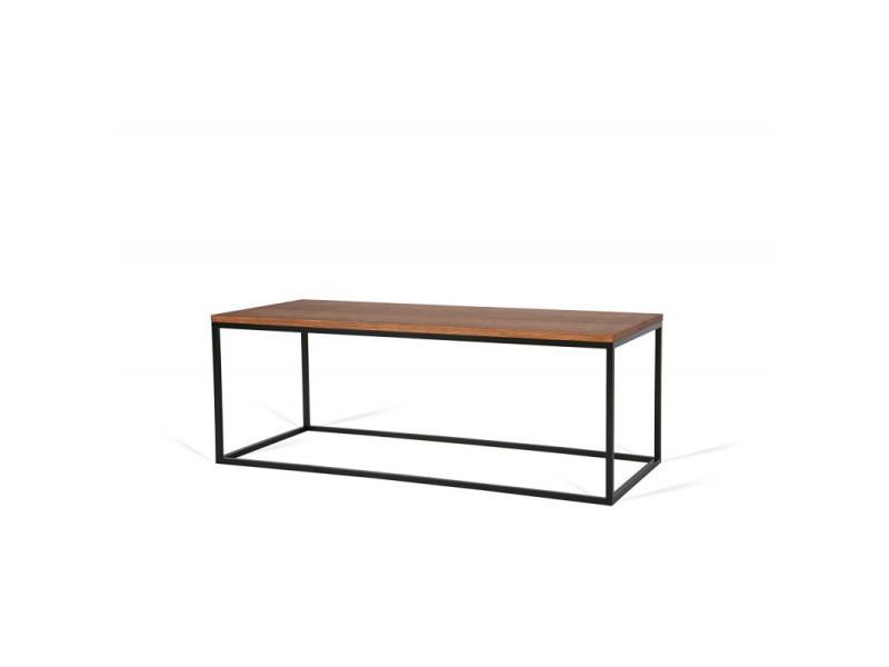 Table basse rectangulaire 110 cm industrielle helisa / coloris : chêne foncé