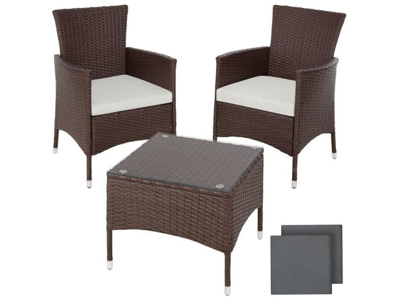 Salon de jardin rotin résine tressé synthétique 2 places avec 2 sets de housses marron marbré helloshop26 2108067