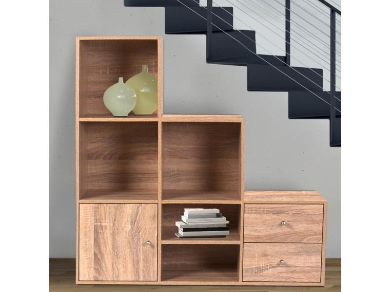 meuble de rangement escalier 3 niveaux bois fa on h tre avec porte et tiroirs vente de id. Black Bedroom Furniture Sets. Home Design Ideas