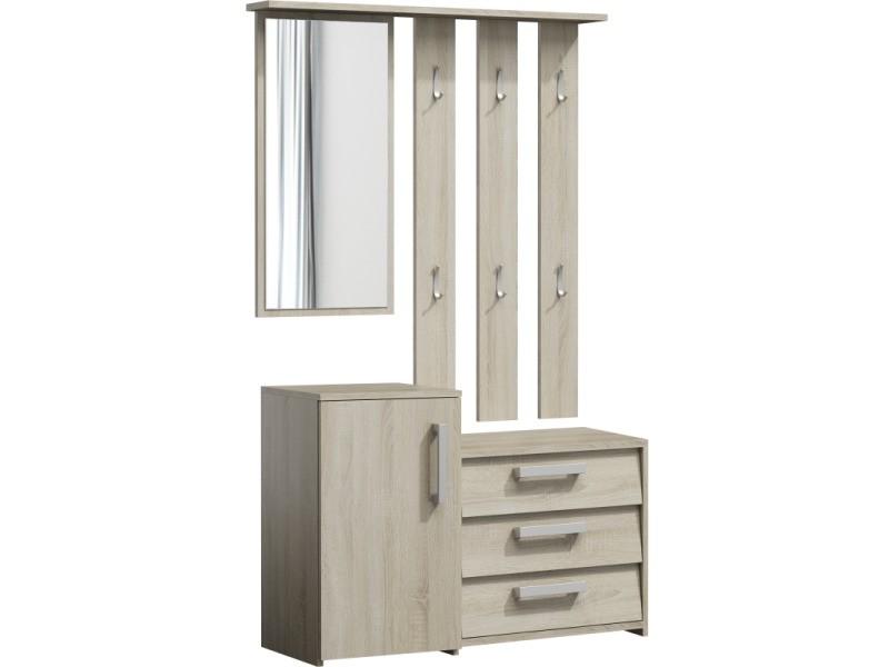 Serna - meuble d'entrée - porte-manteau + miroir + armoire à chaussures - 6 crochets - 180x99x36 cm - sonoma