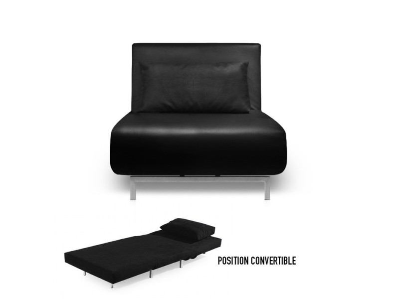 fauteuil convertible obadia simili cuir noir vente de meubler design conforama. Black Bedroom Furniture Sets. Home Design Ideas