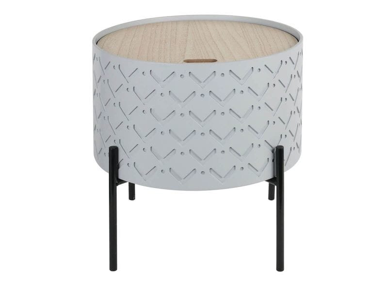 Corally - table d'appoint ronde grise avec coffre