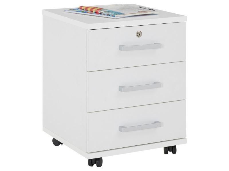 caisson roulettes yoan rangement bureau 3 tiroirs blanc. Black Bedroom Furniture Sets. Home Design Ideas