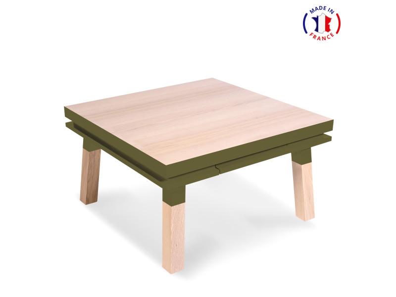 Table Basse Carree Bois Massif Vert Lancieux 100 Made In France Vente De Mon Petit Meuble Francais Conforama
