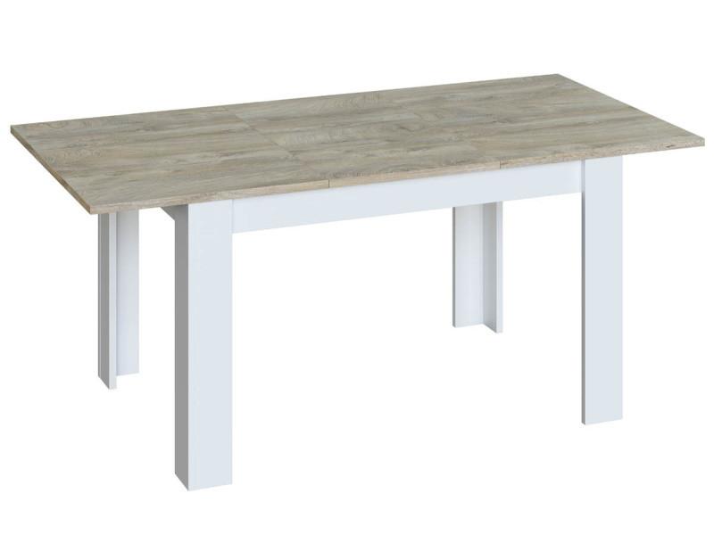 Table extensible de salle à manger finition chêne / blanc - h.78 x l.140-190 x p.90 cm -pegane-