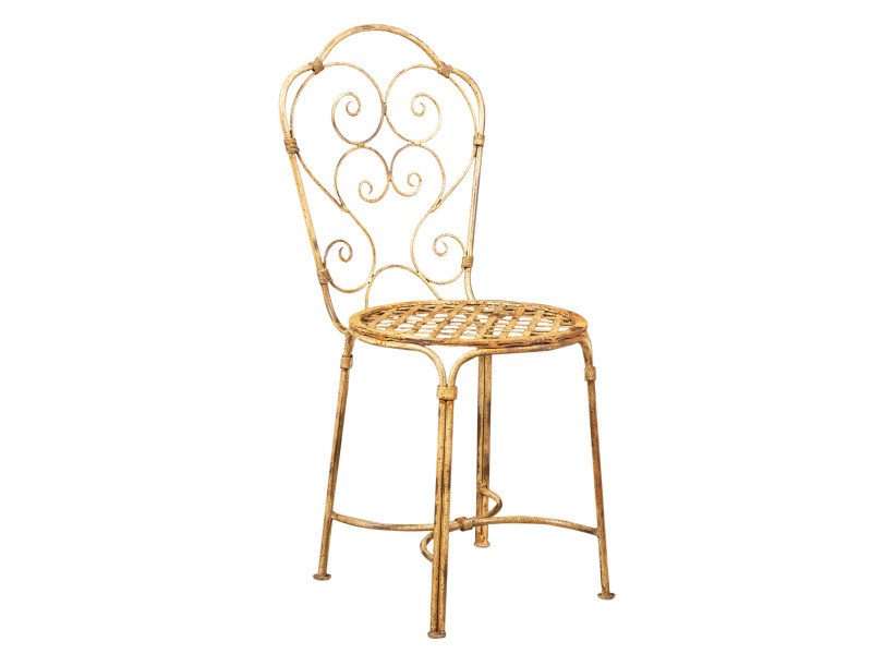 Chaise de salle à manger de jardin d'extérieur en fer forgé avec finition blanche antique