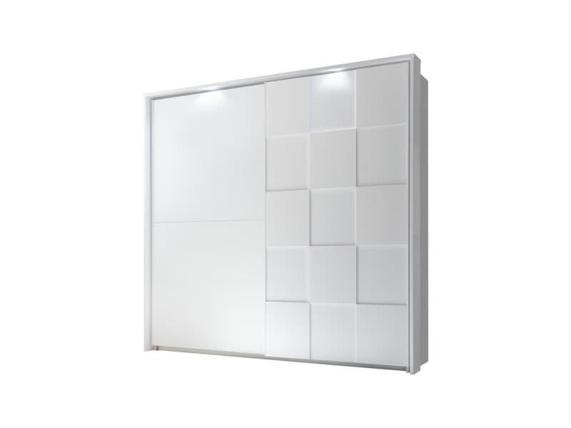 Armoire 2 portes coulissantes 220 cm blanc mat à leds - ticato - l 229 x l 64 x h 210 - neuf