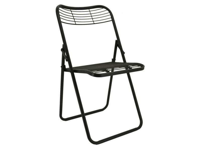 Chaise pliante en métal vieilli