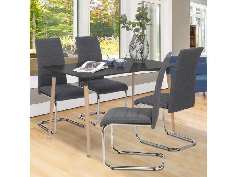 Lot de 4 chaises mia en tissu gris anthracite pour salle à