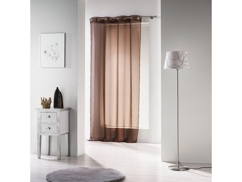 Rideau a oeillets polyester voile uni voiline brun 140 x 280 cm