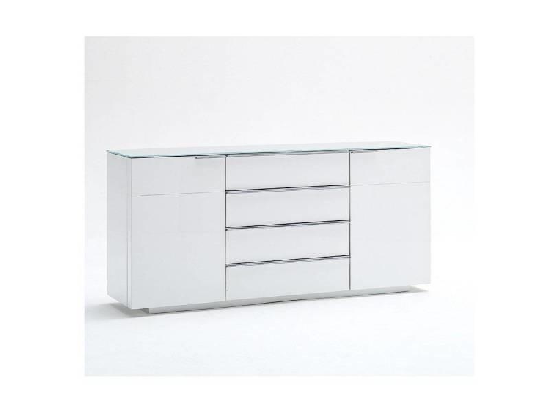 Buffet cambridge blanc laqué brillant plateau en verre blanc brillant 20100880064