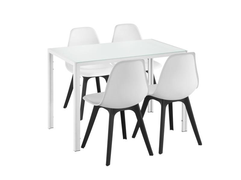 [en.casa] Ensemble Table Et 4 Chaises Table De Salle à Manger Avec 4  Chaises Métal Bois Plastique Verre Blanc Et Noir 105cm X 60cm X 75cm