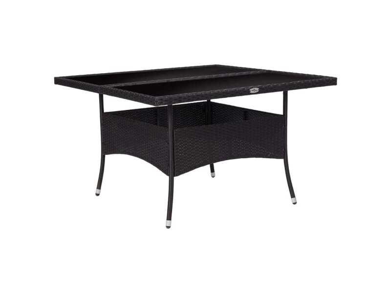 Superbe mobilier de jardin reference nassau table à dîner d'extérieur noir résine tressée et verre