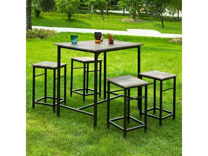 Set de 1 table 4 tabourets ensemble table de bar bistrot - Table bar cuisine conforama ...