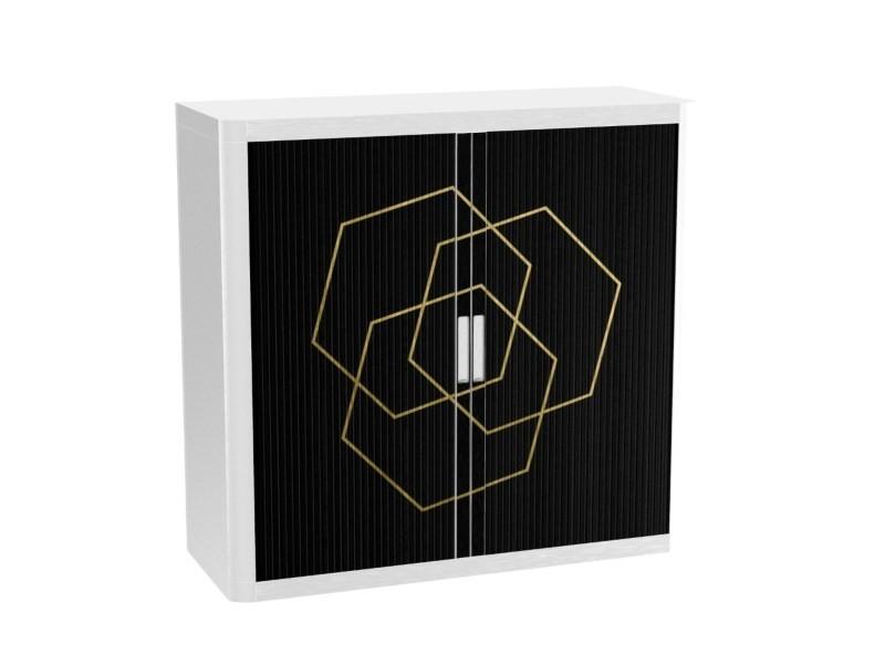 Armoire de bureau métalique porte coulissante h 1m - romance