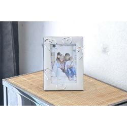 Cadre photo argenté à coeur (20 x 14 cm)