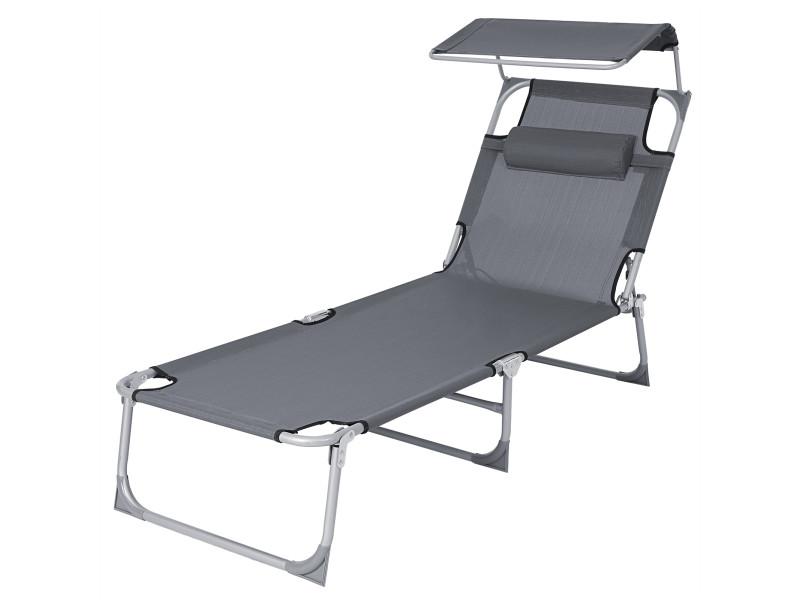 Songmics chaise longue, bain de soleil, grand modèle, 71 x 200 x 38 cm, charge 150 kg, avec appui-tête, dossier et parasol inclinables, pliable, pour jardin, anthracite gcb22gyv2 Grand modèle, 71 x 200 x 38 cm