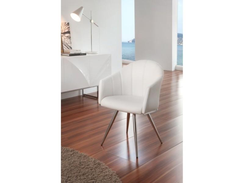 Lot de 2 chaises pivotantes en simili cuir blanc et pieds chromés salana - l 56 x l 76 x h 74